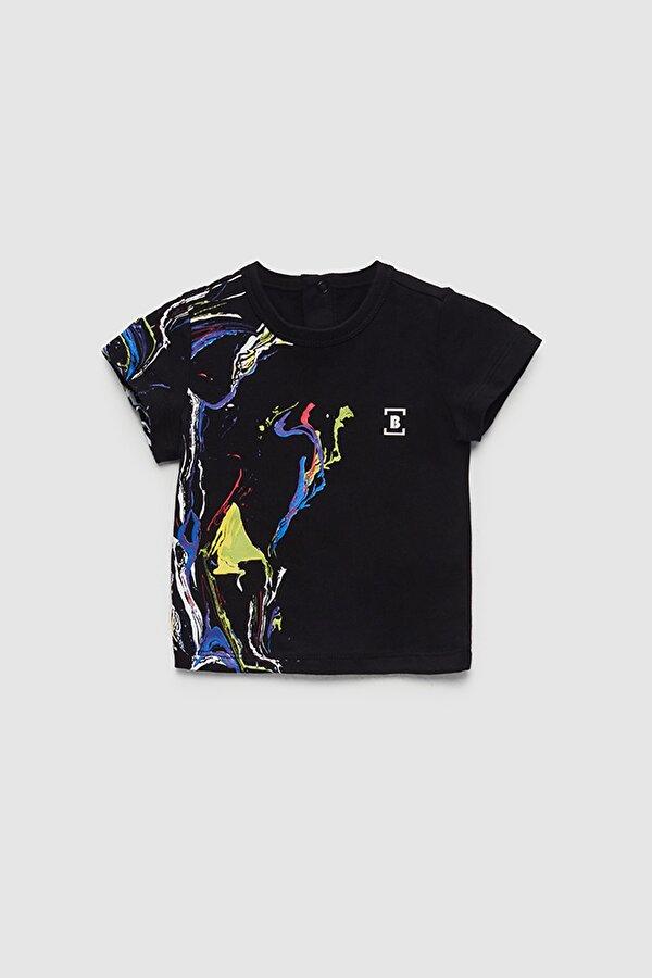 Resim Erkek Bebek Siyah T-Shirt