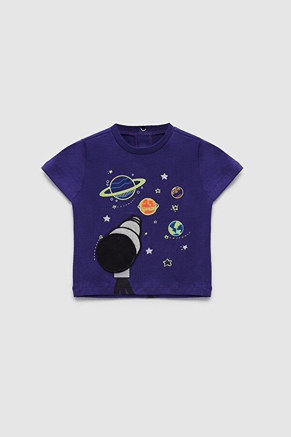 Resim Erkek Bebek Mor T-Shirt