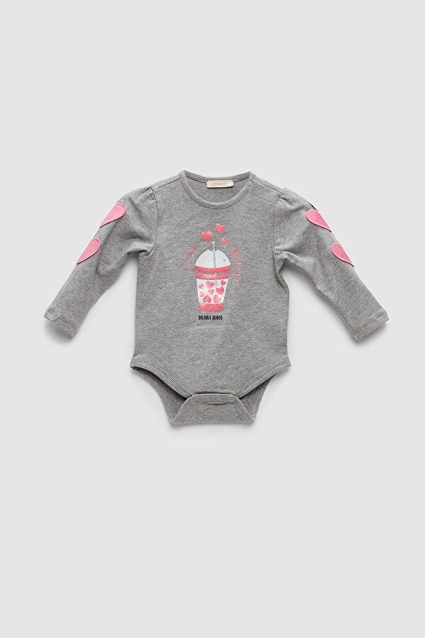 Resim Kız Bebek Gri Melanj Body