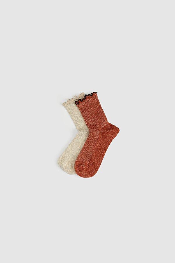 Resim Kız Çocuk Tarçın 2li Çorap